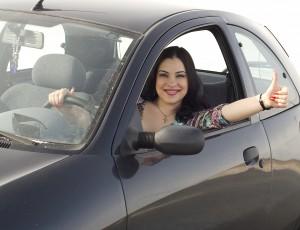 happy girl in the car