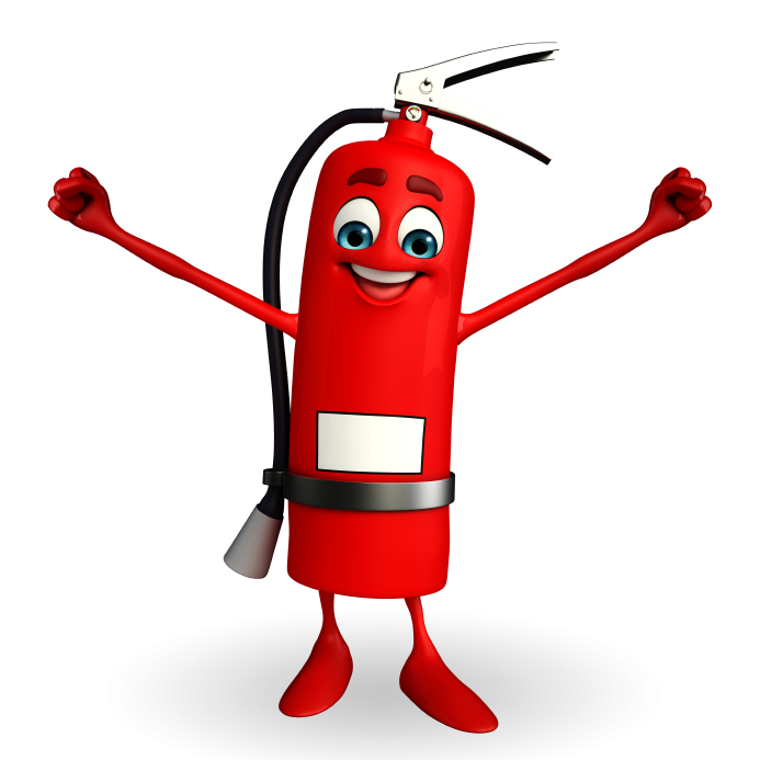 Cartoon Battery Tester : Fire extinguisher character with happy pose